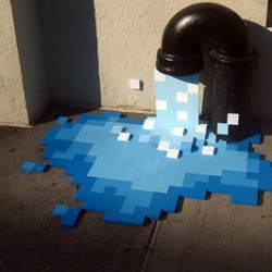 A brilliant combination of pixel art and street art.  The photo was taken in New York City.