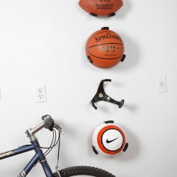 The Ball Claw holder is a quick and easy way to organize sport balls in any garage, basement, or child's bedroom.