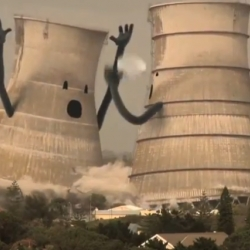 Ecotricity created this compilation film, Collapsing Cooling Towers, which shows several anthropomorphic towers looking quite surprised at their sudden demise.