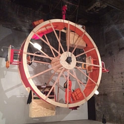 'In Orbit' currently on view in Williamsburg is the latest performance-architecture by Ward Shelley and Alex Schweder where they cohabitate on a giant wheel for 10 days.