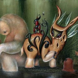 """Great new collaborative painting by Dan May and Jason Limon. Entitled """"In the Still of Uncertain Streams"""", the painting is currently on show at Dragon Con in Atlanta, GA."""