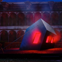 Ingo Maurer's red hot installation 'Ablaze – sentimento (s)travolgente' in Milan last month at the Università Degli Studi.