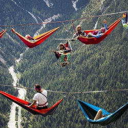 Stroll, strum or sleep your way along a tightrope across the Italian Alps at the International Highline Meeting 2014.