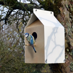 Milk Carton inspired Birdhouse made from reclaimed plywood and old washing machines - By JAM Furniture