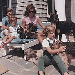 Happy Presidents' Day!  I love this photo of JFK with his family and pack of dogs,  but it also breaks my heart.  Courtesy of  The History Place: John F. Kennedy Photo History.