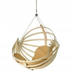 Jiella 0-series, designed by finish designer Samuli Naamanka, is a suspended wooden chair utilizing spherical geometry.