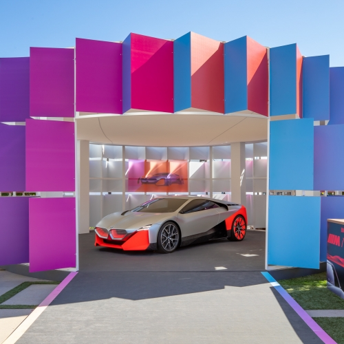 BWArchitects sets the stage for Vanity Fair's New Establishment Summit in LA. The featured design element is the BMW Vision pavilion, showcasing the M NEXT electric car in style.