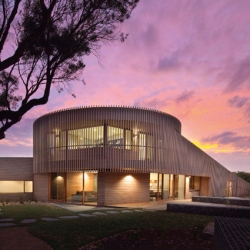 Jackson Clements Burrows Architects latest project is a stunning sculptural home wrapped in cedar battens. Barwon Heads, Victoria.