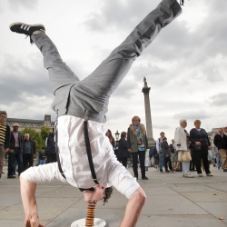 Two Covent Garden performers turned passion for Jaffa Cakes into profit by incorporating the  popular snack into their street acts.