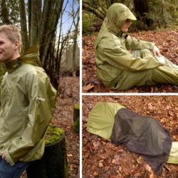 JakPak is a clever all-in-one jacket, sleeping bag and tent. It looks like a normal weather proof jacket but it unfolds to become a one man shelter.