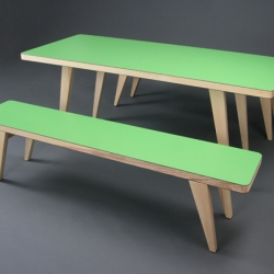 The furniture made by british designer James Burleigh are minimalistic but bright and colourful. Choose from over 100 different colours or a couple of woods to get your very own bench-table combination.