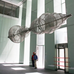 Massive soundwave sculpture by media artist James Clar in the lobby of Rolex Tower in Dubai.