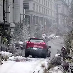 In this Canadian Jeep Cherokee ad they transform a street in Vancouver into a forest and mountain river. They brought in a million pounds of boulders, rocks and sand, 80 trees, and even two wolves.