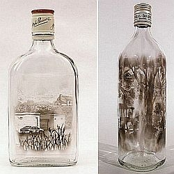 Jim Dingilian is an artist who stretches the limits of creativity with his amazing creations. He uses candle smoke to paint picture-perfect images on the inside of empty bottles.
