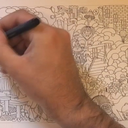 Jim Stoten, one of the creators of Boing magazine, freestyles an amazing drawing in two hours (sped up to two minutes).
