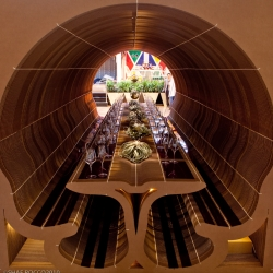 A twenty foot long dining room made almost entirely of cardboard, provided by John Lum Architecture for CH&D and 7x7 at DIFFA's 2010 Dining by Design in San Francisco.