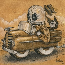 "Jonathan Bergeron aka Johnny Crap is a skater punk artist from Montreal who's fascinated by ""Calaveras"". His ""two wheeled truck"" pieces is part of the Paper Pusher show at G1988 SF"