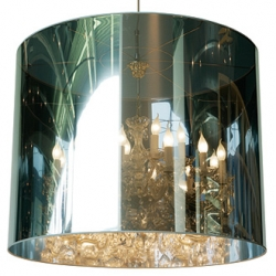 Light Shade Shade  is a one way mirror that reflects its environment as well as concealing the chandelier within.