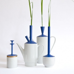 """Nachacht featuring Julia Landsiedl : """"Old pot, new top"""" part of the Broken Porcelain project is a combination of old ceramic tea and coffee pots and new lids/ tops."""