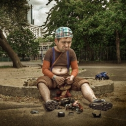 This set by Marcin Cecko of Poland is absolutely hilarious. He does a great job distorting reality by creating kid-like adults in childhood situations.