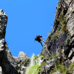 Extreme sport of 'kloofing' between a rock and a waterfall in South Africa.  Slideshow and article in the wall street journal shows us this ramped-up version of canyoneering.