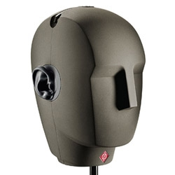 The KU 100 dummy head is a replica of the human head with a microphone built into each ear providing a sound image almost identical to the one heard at the recording location of the dummy head.