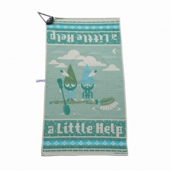 """A little help"" gnome tea towel by graphic designer Leendert Masselink woven in the Dutch Textile Museum. This cheerful tea towel dries the dishes suddenly a lot easier.  The towel is full of gnomes who will help you finish the job."