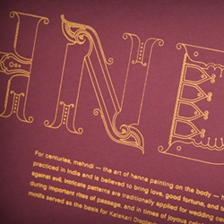 The Kalakari Display font designed by Beth Shirrell, inspired by by the ornate culture of India. Kalakari translates from Hindi to English to mean ornamentation.