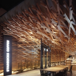 Tokyo based architects Kengo Kuma decided to switch up the vibe of coffee shops when Starbucks wanted to set up shop on the street that leads straight to the Dazaifu Tenmagu, a holy shrine dedicated to a Japanese deity.