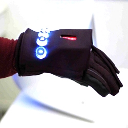Kevin Cannon & Ashwin Rajan's  'Frontline' networked gloves allows fire-fighters to use hand gestures to communicate with each other in a fire-fighting situation.