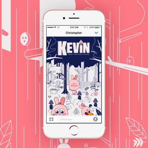 Kevin Town, a new iOS sticker experience. The interface is inspired by graphic novels and video games and the idea that sticker packs can be more than a grid of images. Chapter 1: The Stickers of Destiny.