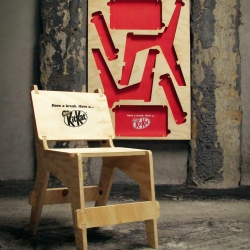 Cool Kit Kat Street posters that you can take and assemble into a chair to have a break at summer festival venues.