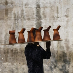 Series of terracotta pots, glazed on the inside, with silicone lids, designed by Benjamin Hubert, made by Menu.