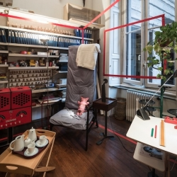 The foundation Achille Castiglioni offering the public the chance to see many of the objects he designed in a domestic setting: the beautiful and perfectly preserved apartment that used to house his studio and is today the seat of the Fondazione.
