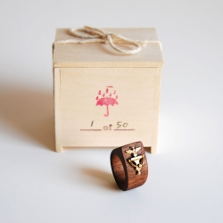 "Knock Knock ring. A solid walnut ring with a brass knocker, you can ""knock on wood"" no matter your surroundings. Designed by Pat Kim."