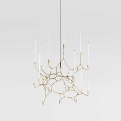 MIT professors Brandon Clifford and Wes McGee (aka Matter Design) craft 3D printed, brass chandelier called Knotta that breaks from the tradition of the radially symmetric typology.