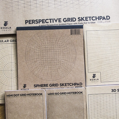 "KOALA TOOLS takes graph paper to new dimensions. Their line of geometric and perspective gridded notebooks that includes everything from 1, 2, and 3-point perspective grids to 1/8"" dot grid pocket notebooks."