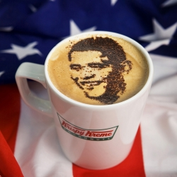Krispy Kreme UK has created some neat Barack Obama coffee art to promote its United States of Americano coffee giveaway.
