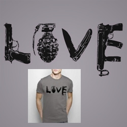 Great shirt design with typography made of weapons. Nicely illustrated & ironic. By a Dutch designer.