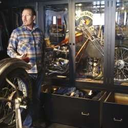 Photographer Bo Bushnell tours the private studio of sculptor Jeff Decker, and examines his very rare collection of biker gang memorabilia.