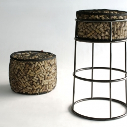 Life After Corkage Bar Stool + Ottoman by Phase Design. Vinyl-coated threaded polyester mesh filled with twelve-hundred recycled wine and champagne corks.