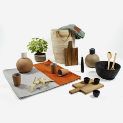 Lagos del Mundo, basic objects, inspired by primitive artifacts and tools, with an emphasis on simple shapes and materials.