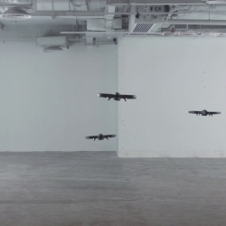 ][LIMINAL][ employs a swarm of hacked semi-autonomous flying drones equipped with loudspeakers to create a series of performances and an installation on the topic of relational anxiety of inhabiting spaces.