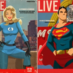 Illustrator Des Taylor combines his love of Superheroes and Pin-Up Girls from the 50s for a series of faux magazine covers.