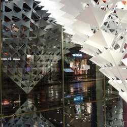 The Pyramids of NY-LON are two inverted pyramids created by award winning design studio NEON and currently installed in the windows of Topshop's flagship stores in New York and London.