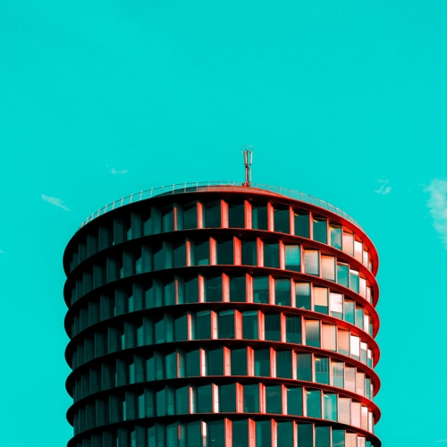 """Hamburg minimal"" by Ali Sahba: between pop colors and minimalism, the German city appears in a new and original way."