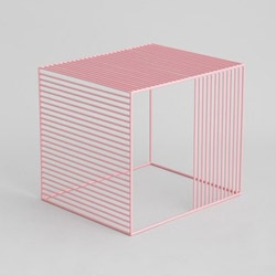 "A steel cube, with grills on three faces. You pick the color. It's simple in shape, yet ""Wire Side Table"" by Iacoli & McAllister has a sophisticated construction."