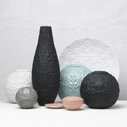 """Dusty Diamonds"" by Anna Elzer Oscarson. The series of objects to decorate the table is a project in collaboration with company Porslinsfabriken from Lidköping, once used by manufacturers of renown Rörstrand porcelain."