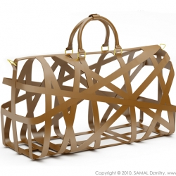 Trip Structural concept bag for Louis Vuitton, realized in leather and gold.