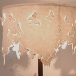 Beautiful lamp shade made of die-cut felt featured in Hong Kong's new W hotel. [Editor's Note - these look very very Mixko!]